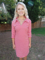 Cabana Red Stripe Polo Dress