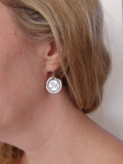 Custom Monogram Silver Wax Initial Earrings