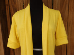 Sunshine Yellow Shawl Collar Sweater Cardigan with Short Sleeves