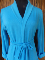 Turquoise Sky Shawl Collar Sweater Wrap Cardigan with 3 Quarter Sleeves