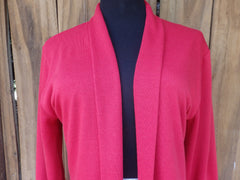 Brick Red Shawl Collar Cardigan Sweater with 3 Quarter Sleeves