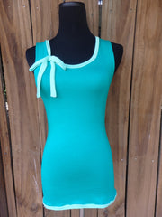 Kelly Green Ribbon Tie Tank Top