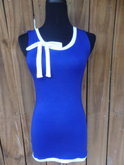 Royal Blue Ribbon Tie Tank Top