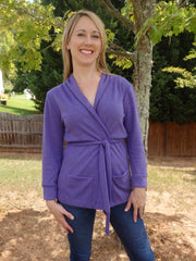 Lilac Purple Shawl Collar Sweater Wrap Cardigan with 3 Quarter Sleeves