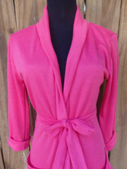 Hot Pink Shawl Collar Sweater Wrap Cardigan with 3 Quarter Sleeves