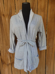 Heather Gray Shawl Collar Sweater Wrap Cardigan with 3 Quarter Sleeves