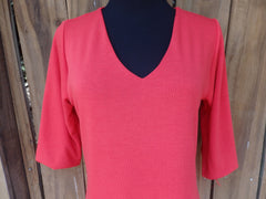 Classic Red V Neck Sweater Top with 3 Quarter Sleeves