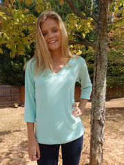 Mint Green Ice V Neck Sweater Top with 3 Quarter Sleeves