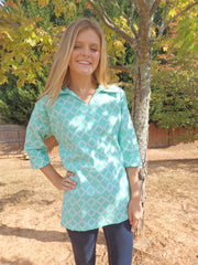 Green Lattice Polo Shirt