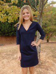 Beach Bridesmaid Navy Blue Shift Dress