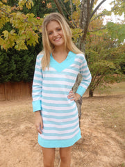 Design Your Own Stripe Tunic Dress with 3 Quarter Sleeves-2 Color Choices