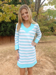 Aqua Seaside Stripe Tunic Dress with 3 Quarter Sleeves