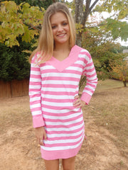 Bella Pink Stripe Tunic Dress with 3 Quarter Sleeves