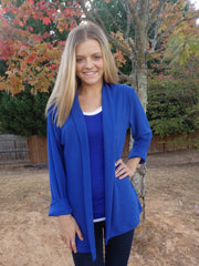 Kate Royal Blue Shawl Collar Cardigan Sweater with 3 Quarter Sleeves