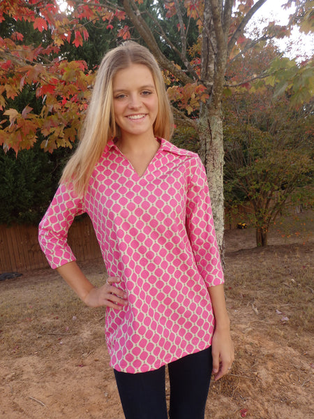 Pink Spots Polo Shirt