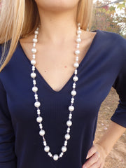 Classic Thick Pearl Long Beaded Statement Necklace