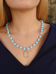 Sky Blue Beaded Statement Necklace-1 LEFT