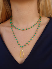 Kelly Green Double Beaded Statement Necklace-1 LEFT