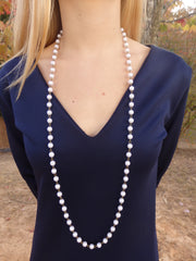Classic Pearl Long Beaded Statement Necklace
