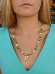 Shades of Green Beaded Statement Necklace-1 LEFT
