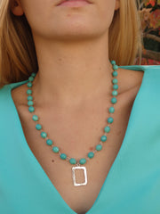 Shades of Teal Blue Beaded Statement Necklace-1 LEFT