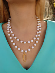 White Double Beaded Vintage Necklace