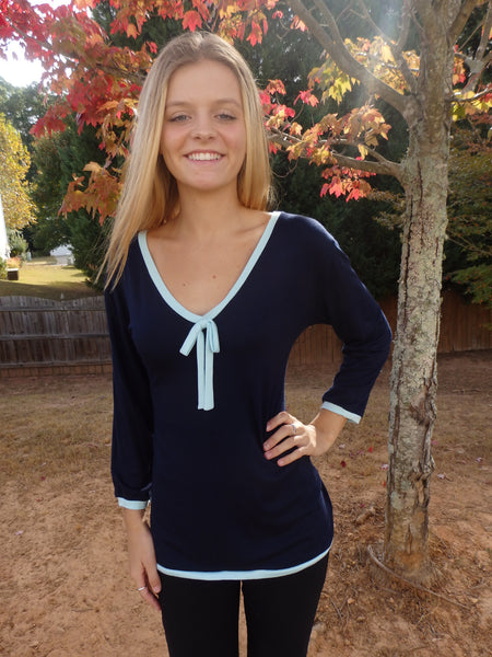 Navy Blue Ribbon Tie Designer Blouse