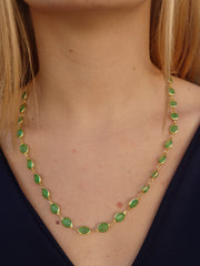 Kelly Green Gems Statement Necklace-1 Left