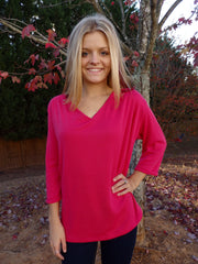 Hot Pink V Neck Sweater Top with 3 Quarter Sleeves