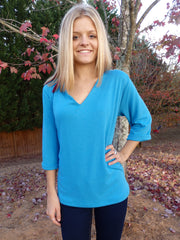 Blueberry Turquoise V Neck Sweater Top with 3 Quarter Sleeves