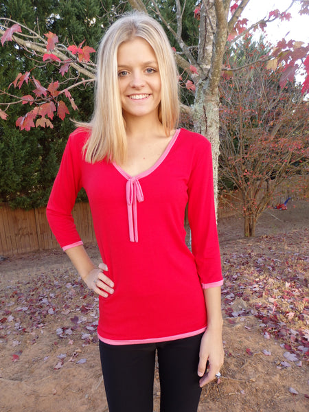 Red Ribbon Tie Designer Blouse