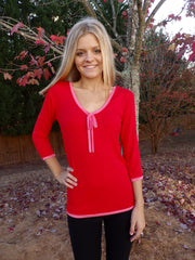 Red Ribbon Tie Blouse