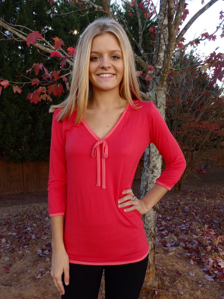 Bright Coral Ribbon Tie Designer Blouse