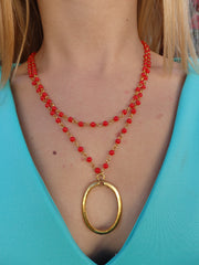 Cherry Drops Double Beaded Statement Necklace-1 LEFT
