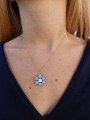 Aqua Blue Oceans Flower Swarovski Rhinestone Necklace