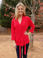 Hot Red Shawl Collar Sweater Wrap Cardigan with 3 Quarter Sleeves