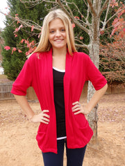 Brick Red Shawl Collar Sweater Cardigan with Short Sleeves