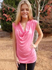 Preppy Pink-Designer Womens Classic Cowlneck Blouse