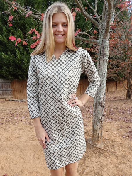 Gray Modern Link Polo Dress