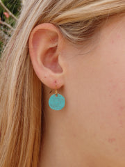 Turquoise Circle Earrings - Vintage Turquoise Patina