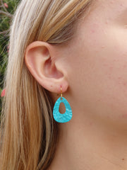 Turquoise Teardrop Earrings - Vintage Turquoise Patina