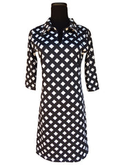 Lattice-Designer Womens Classic Polo Collar Dress with 3 Quarter Sleeves