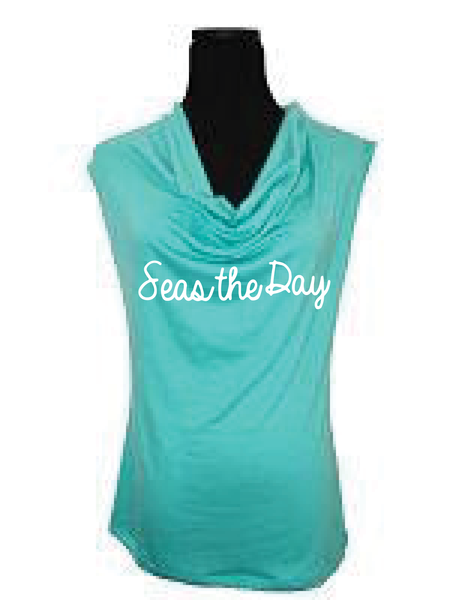 Aqua -Sleeveless Blouse