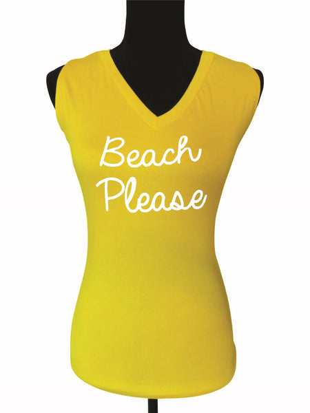 Sunny Days -Beach Quote V Neck Top