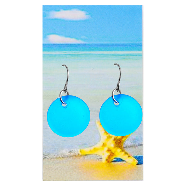 Sea glass Bright Aqua Circle Earrings