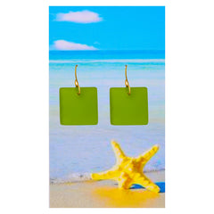 Bright Kelly Green Seaglass Earrings
