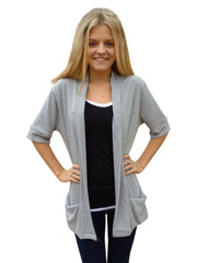 Heather Gray Shawl Collar Sweater Cardigan with Short Sleeves