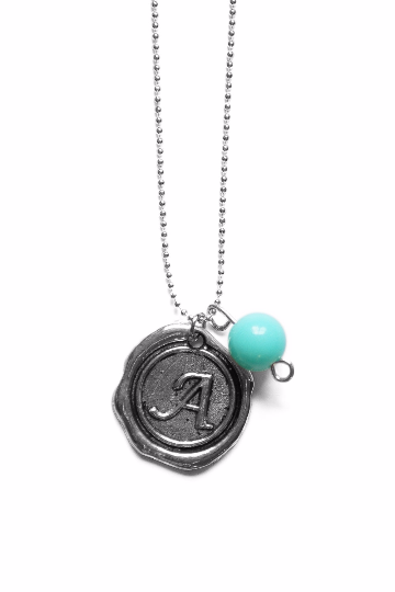 A Touch of Aqua Custom Monogram Silver Wax Initial Necklace