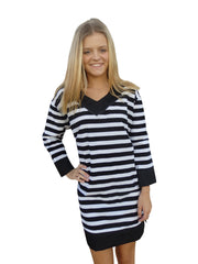 City Chic Black Stripe Tunic Dress with 3 Quarter Sleeves