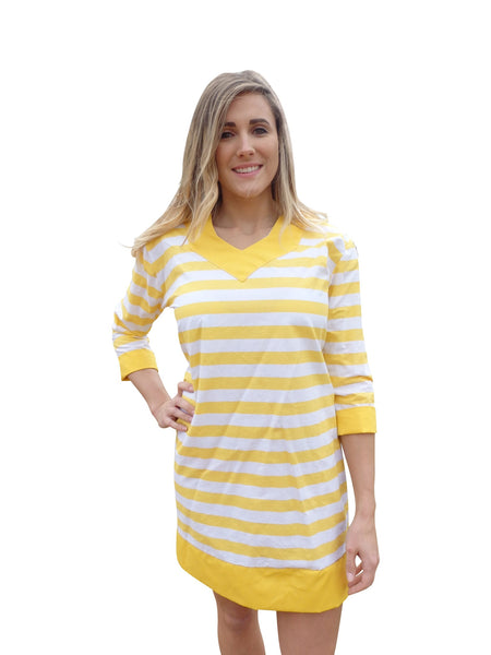 Sunny Yellow Stripe Tunic Dress with 3 Quarter Sleeves  Size  $150.00